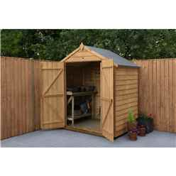 4ft x 6ft (1.3m x 1.8m) Overlap Apex Security Shed With Double Doors - Windowless - Modular - INSTALLATION INCLUDED - *Double Doors are on the 6ft Side