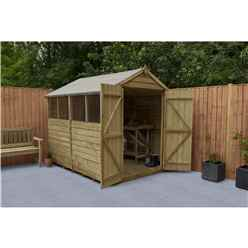 INSTALLED 8ft x 6ft (2.4m x 1.9m) Pressure Treated Overlap Apex Wooden Garden Shed with Double Doors and 4 Windows - Modular - INSTALLATION INCLUDED