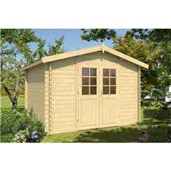 3.2m x 2.9m Log Cabin - Single Glazing (28mm Wall Thickness) - Double Doors - *Flash Reduction - Fast Delivery