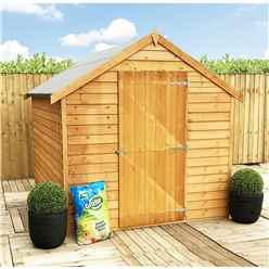 **FLASH REDUCTION** 8ft x 6ft  (2.39m x 1.83m) - Pressure Treated - Super Value Overlap - Apex Wooden Garden Shed - Windowless - Single Door - 10mm Solid OSB Floor - CORE
