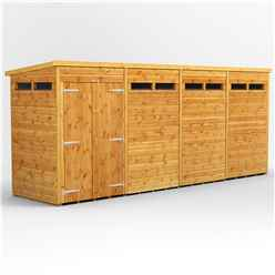 16ft x 4ft Security Tongue and Groove Pent Shed - Double Doors - 8 Windows - 12mm Tongue and Groove Floor and Roof