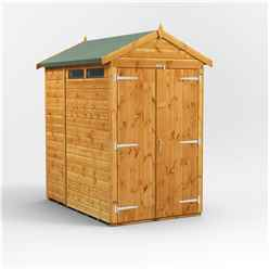 6ft x 4ft Security Tongue and Groove Apex Shed - Double Doors - 2 Windows - 12mm Tongue and Groove Floor and Roof