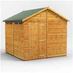8ft x 8ft  Security Tongue and Groove Apex Shed - Single Door - 4 Windows - 12mm Tongue and Groove Floor and Roof