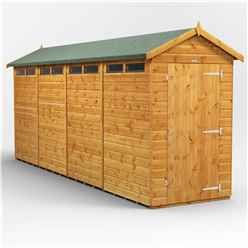 16ft x 4ft Security Tongue and Groove Apex Shed - Single Door - 8 Windows - 12mm Tongue and Groove Floor and Roof