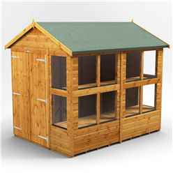 8ft x 6ft Premium Tongue and Groove Apex Potting Shed - Double Doors - 12 Windows - 12mm Tongue and Groove Floor and Roof