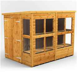 8ft x 6ft Premium Tongue and Groove Pent Potting Shed - Double Doors - 12 Windows - 12mm Tongue and Groove Floor and Roof