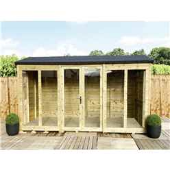 8ft x 13ft REVERSE Pressure Treated Tongue & Groove Apex Summerhouse + LONG WINDOWS with Higher Eaves and Ridge Height + Toughened Safety Glass + Euro Lock with Key + SUPER STRENGTH FRAMING