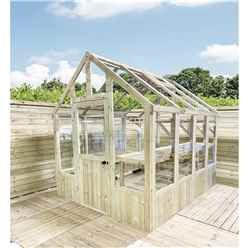 4 x 6 Pressure Treated Tongue And Groove Greenhouse - Super Strength Framing - RIM Lock - 4mm Toughened Glass + Bench + FREE INSTALL