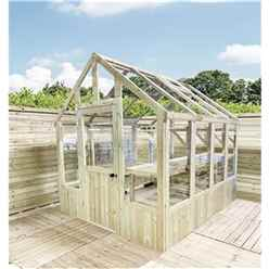 8 x 6 Pressure Treated Tongue And Groove Greenhouse - Super Strength Framing - RIM Lock - 4mm Toughened Glass + Bench + FREE INSTALL
