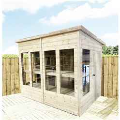 8ft x 6ft Pressure Treated Tongue And Groove Pent Summerhouse - Potting Summerhouse - Bench + Safety Toughened Glass + Euro Lock with Key + SUPER STRENGTH FRAMING