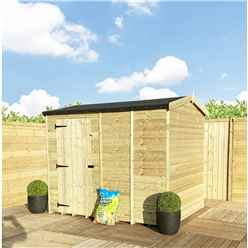 """4FT x 4FT **Flash Reduction** REVERSE Windowless Super Saver Pressure Treated Tongue & Groove Apex Shed + Single Door + High Eaves (72"""")"""
