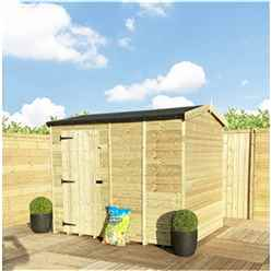 """8FT x 6FT **Flash Reduction** REVERSE Super Saver Pressure Treated Tongue & Groove Apex Shed + Single Door + High Eaves (72"""") + Windowless"""