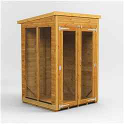 4ft X 4ft Premium Tongue And Groove Pent Summerhouse - Double Doors - 12mm Tongue And Groove Floor And Roof