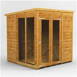 6ft X 6ft Premium Tongue And Groove Pent Summerhouse - Double Doors - 12mm Tongue And Groove Floor And Roof