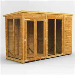 10ft X 4ft Premium Tongue And Groove Pent Summerhouse - Double Doors - 12mm Tongue And Groove Floor And Roof