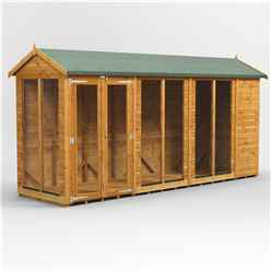 14ft X 4ft Premium Tongue And Groove Apex Summerhouse - Double Doors - 12mm Tongue And Groove Floor And Roof