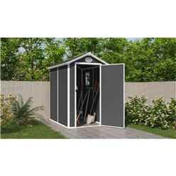 4ft x 6ft Plastic Pent Shed - Dark Grey with Foundation Kit (included)