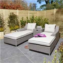 2 Seater Natural Stone Rattan Weave Garden Lounger Set