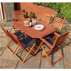 Six Seater Dining Set With Grey Cushion