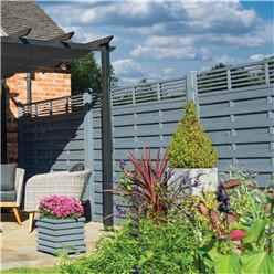 6 x 3 Angled Trellis Top Fence Panel Painted Grey - Minimum Order of 3 Panels