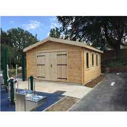 4m x 5m Premier Garage Log Cabin - Double Glazing - 44mm Wall Thickness