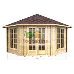 4.5m x 4.5m Premier Colmars Log Cabin - Double Glazing - 34mm Wall Thickness