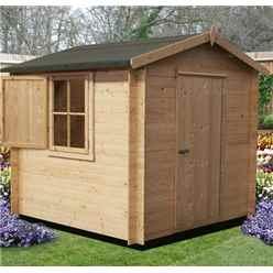 2.4m x 2.4m Premier Apex Log Cabin With Single Door and  Window Shutter + Free Floor & Felt (19mm)