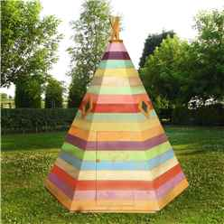 7ft x 6ft (2.11m x 1.77m) - Stowe Wigwam Playhouse - 12mm Tongue & Groove - 2 Windows - Single Door