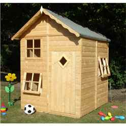 5ft x 5ft (1.60m x 1.68m) - Stowe Playhouse - 12mm Tongue & Groove - 3 Opening Windows - Single Door - Apex Roof