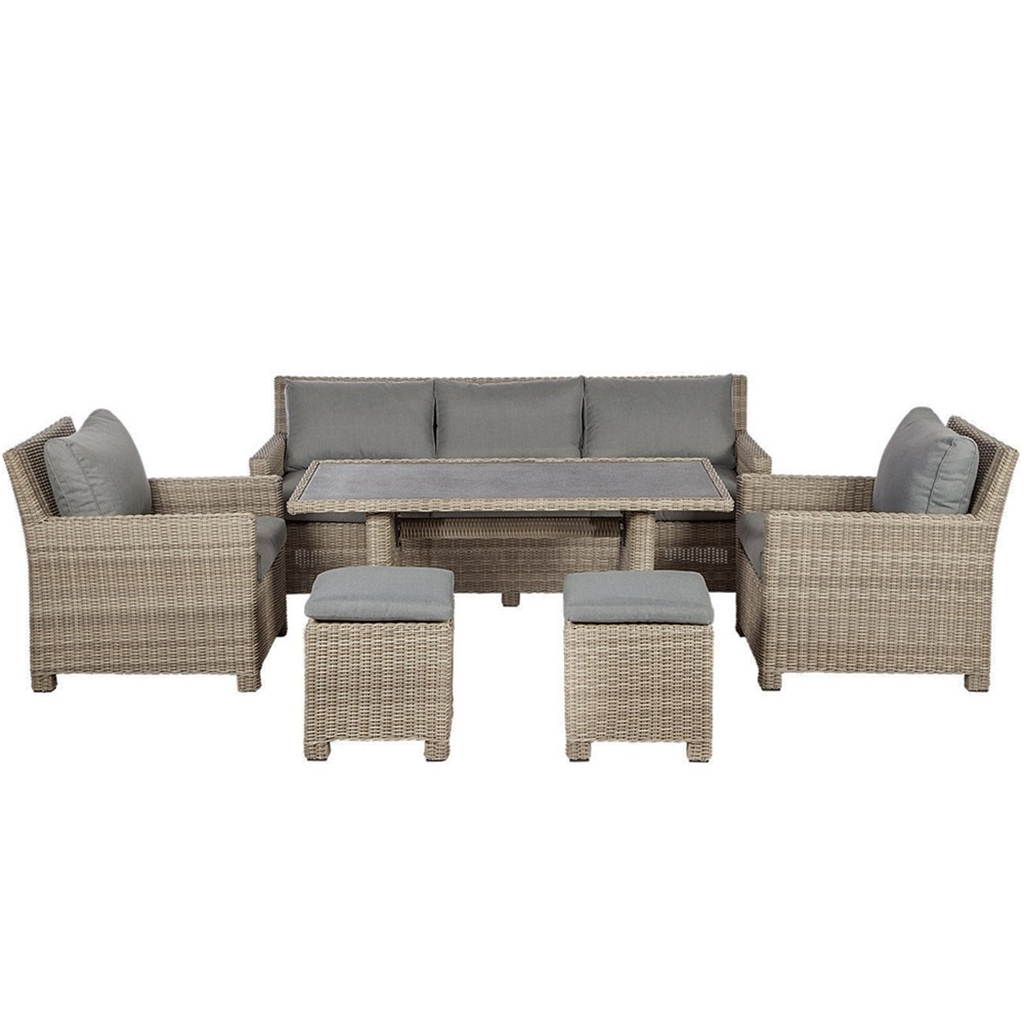ShedsWarehouse.com  Garden Furniture - Wentworth Rattan Collection  **  OOS ** 6 Seater Wentworth Sofa Dining Set - 6 Seat Sofa, 6 Armchairs, 6cm  x