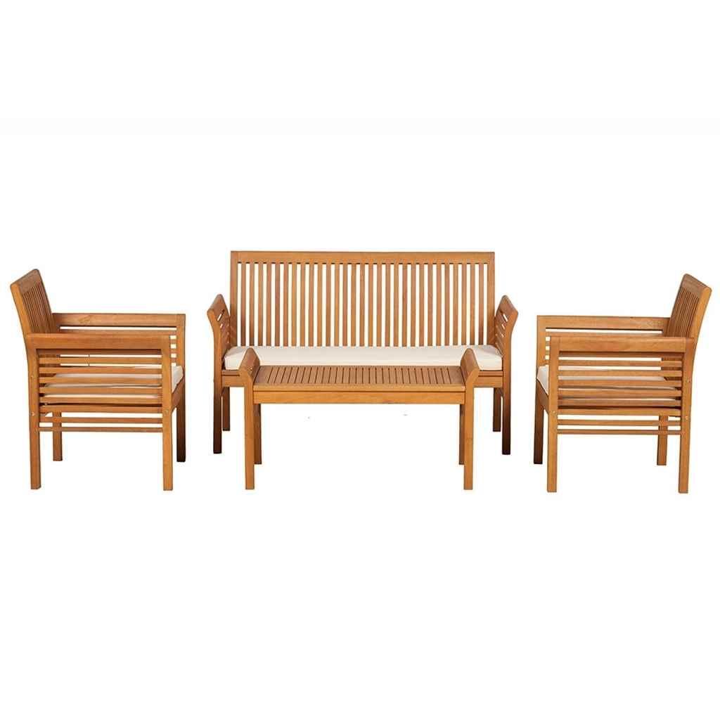 Shedswarehouse Garden Furniture Picnic Lounging Range 4 Seater Manhattan Wood Coffee Set Inc Ivory Seat Cushions Free Next Working Day